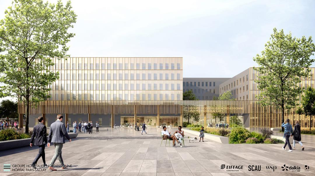 2 Groupe Hospitalier Nord-Essonne © SCAU architecture. Perspective ALMA studio